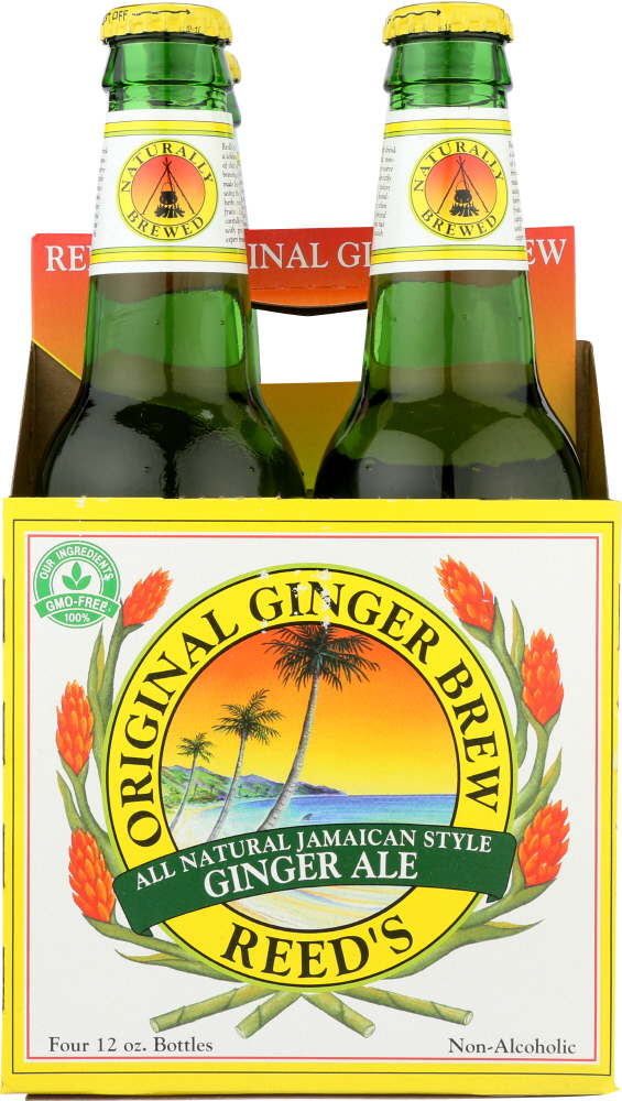 REED'S INC: Original Ginger Brew Jamaican Style Ginger Ale Pack of 4 (12 oz each), 48 oz