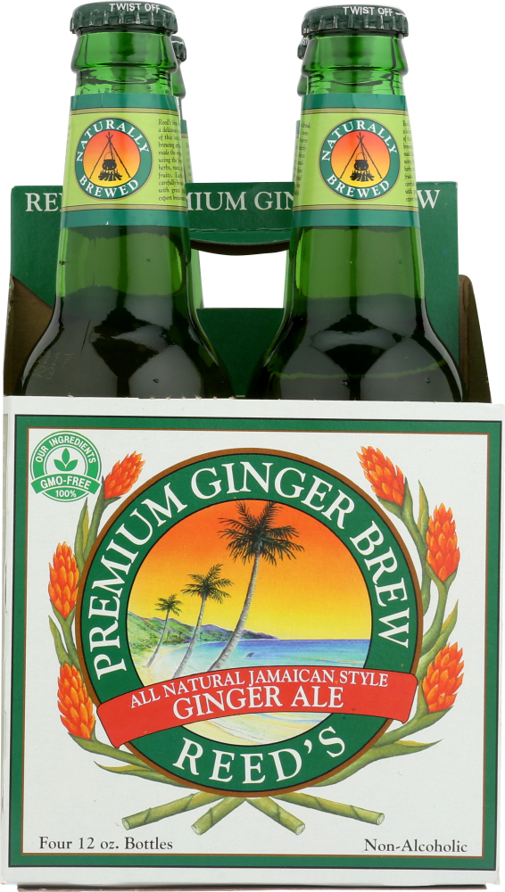 REED'S INC: Premium Ginger Brew Pack of 4 (12 oz each), 48 oz