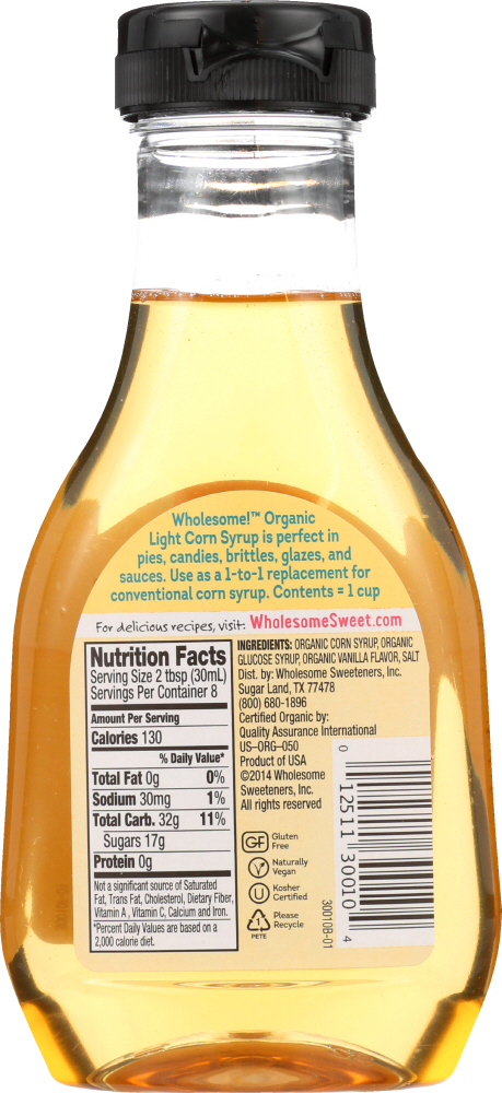 WHOLESOME SWEETENERS: Organic Light Corn Syrup, 11.2 oz