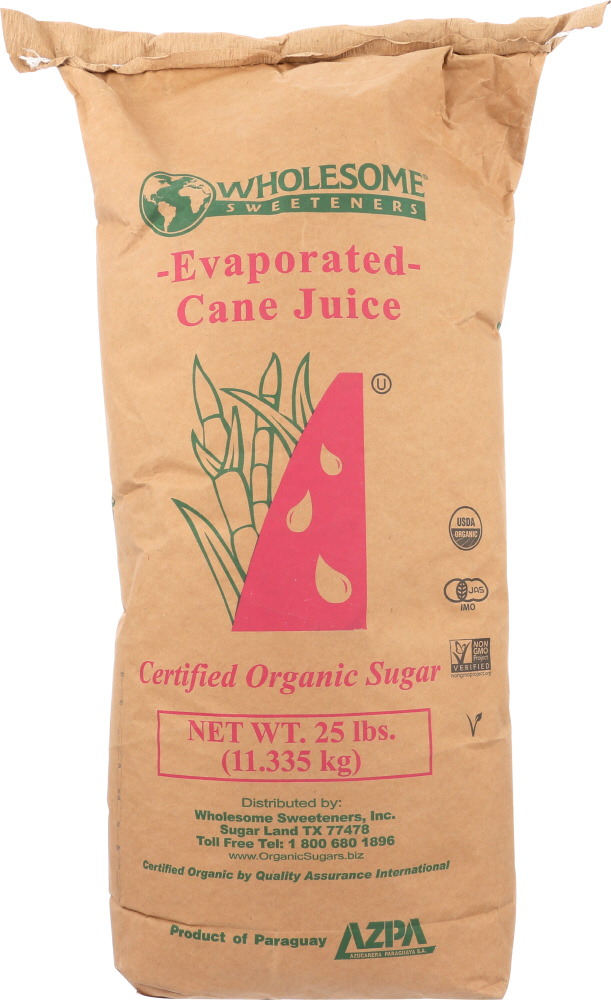 WHOLESOME: Cane Sugar Organic, 25 lb