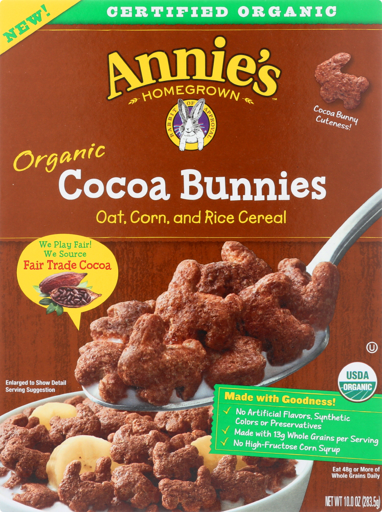 ANNIES HOMEGROWN: Organic Cocoa Bunnies Cereal, 10 oz