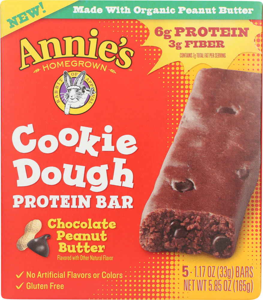 ANNIES HOMEGROWN: Chocolate Peanut Butter Cookie Dough Protein Bars, 5.85 oz