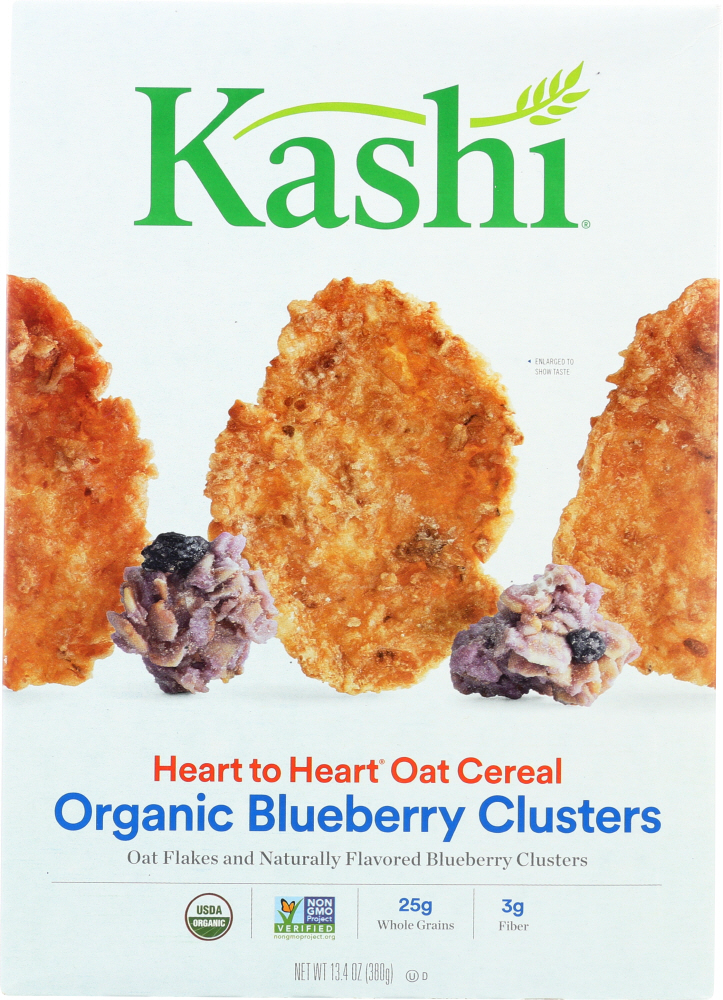 KASHI: Organic Heart to Heart Oat Flakes & Blueberry Clusters Cereal, 13.4 oz