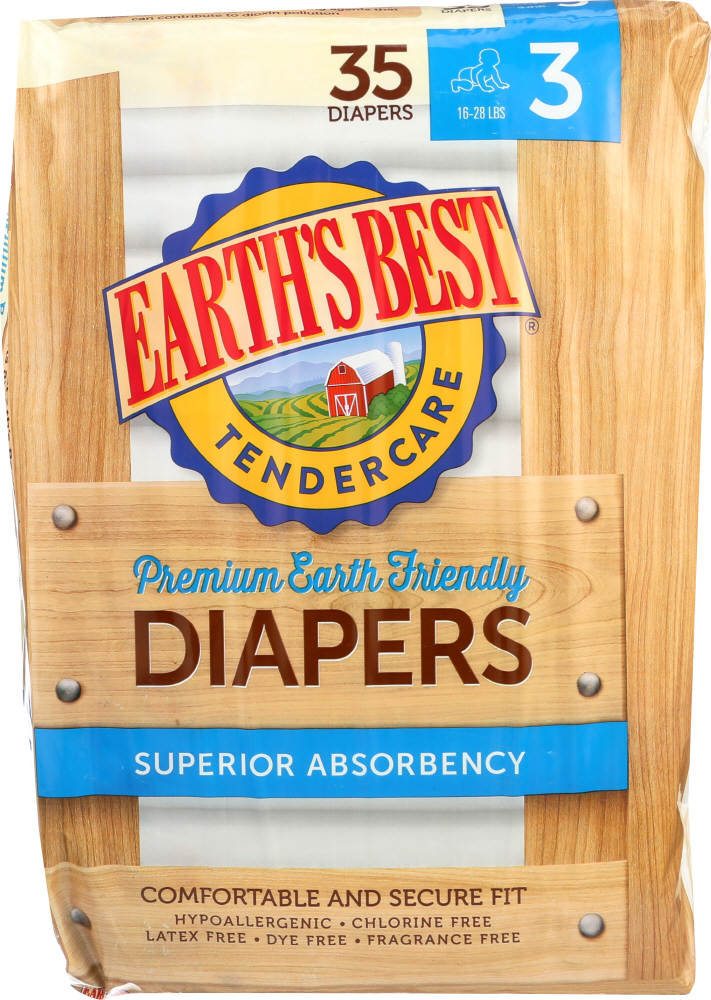 EARTHS BEST: Diaper Stage 3 16-28 lb, 35 pc