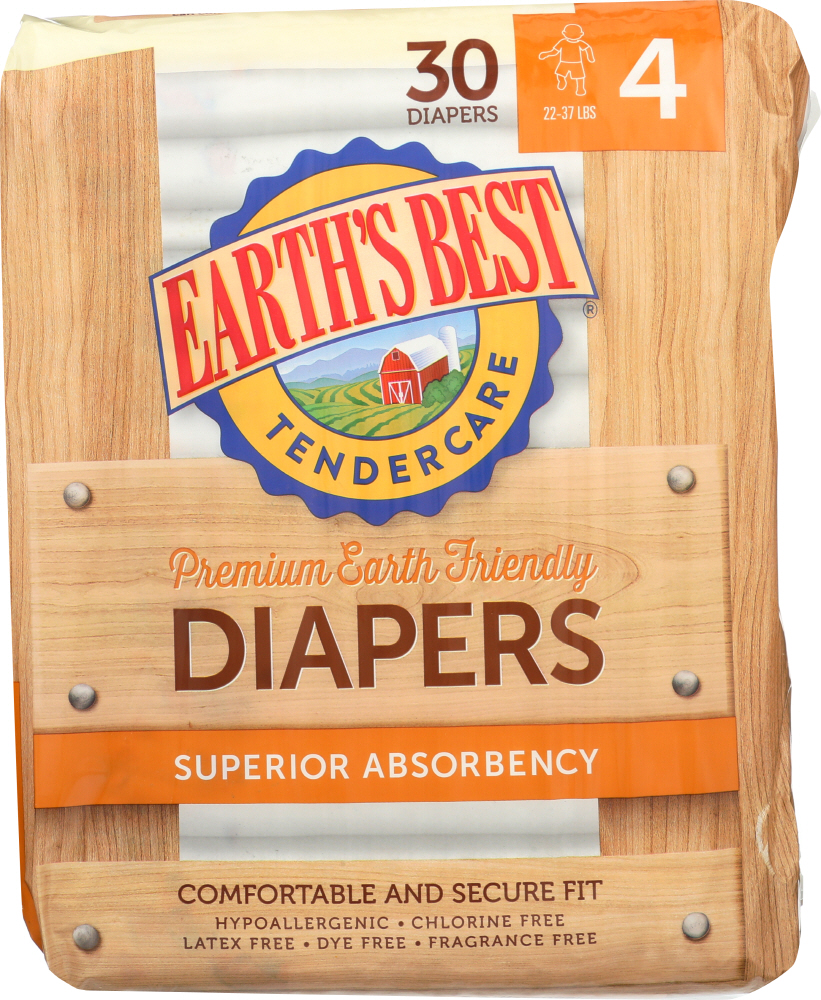 EARTHS BEST: Diaper Stage 4 22-37 lb, 30 pc