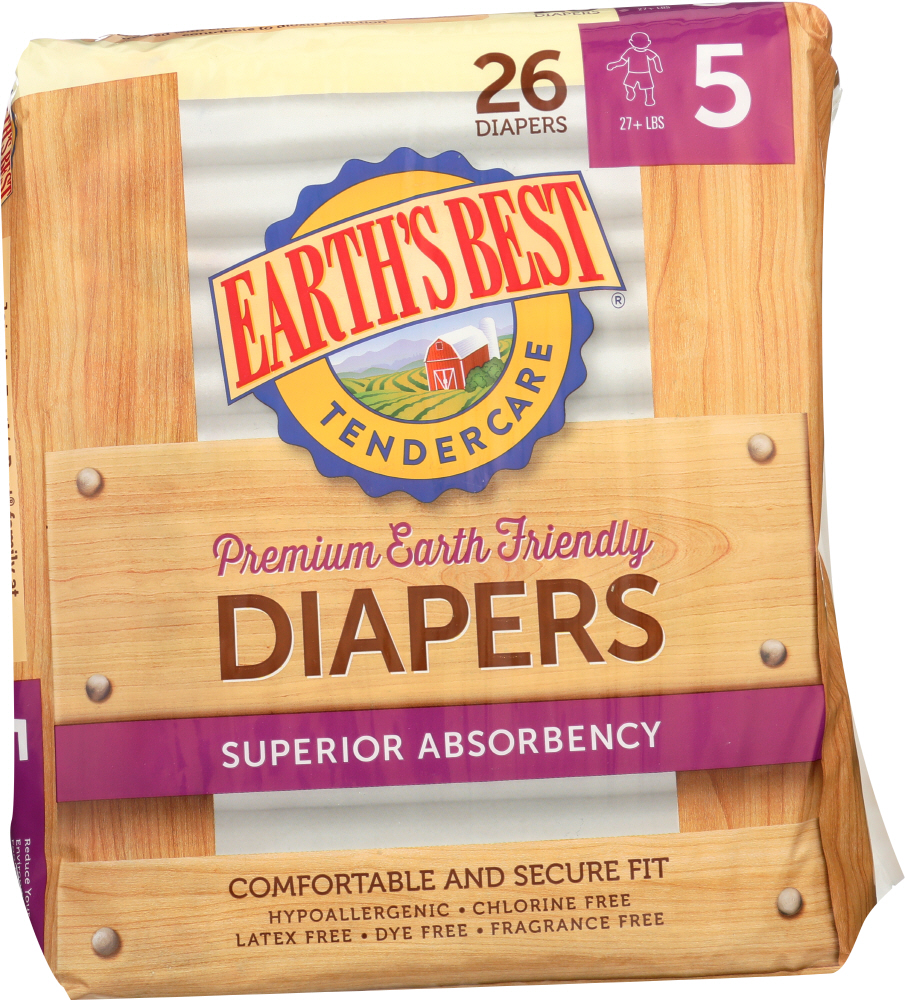 EARTHS BEST: Diaper Stage 5 27lb+, 26 pc