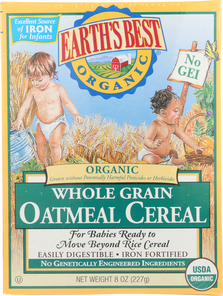 Earth's Best Organic Whole Grain Oatmeal Cereal, 8 oz
