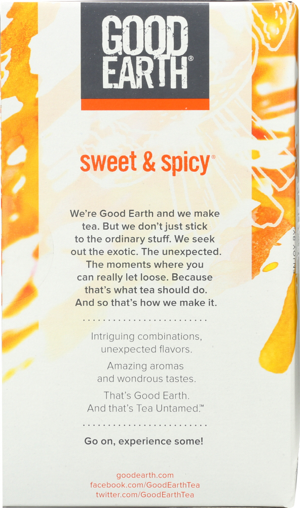 GOOD EARTH: Herbal & Black Tea Blend Original Sweet And Spicy, 18 bg