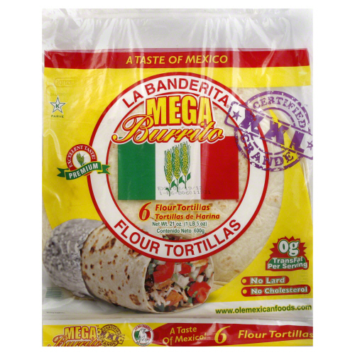 LA BANDERITA: Tortilla Burrito 12 in 16 ct, 21 oz