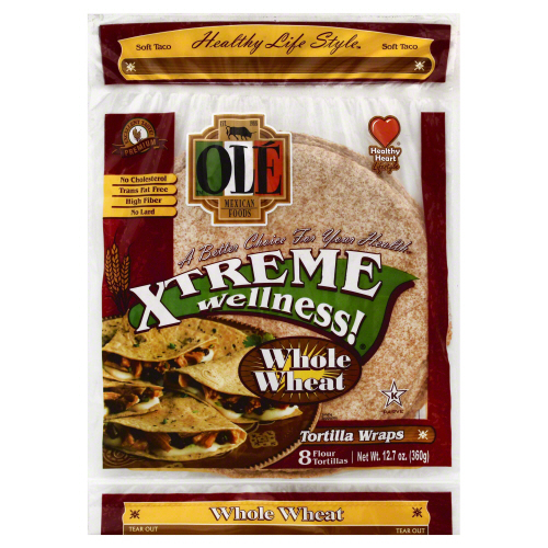 OLE MEXICAN: Tortilla Wraps Xtreme Wellness Whole Wheat 8 Counts, 12.7 oz