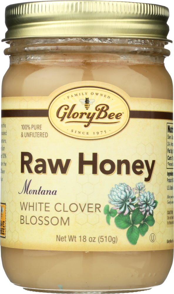 GLORY BEE: Raw White Clover Honey, 18oz
