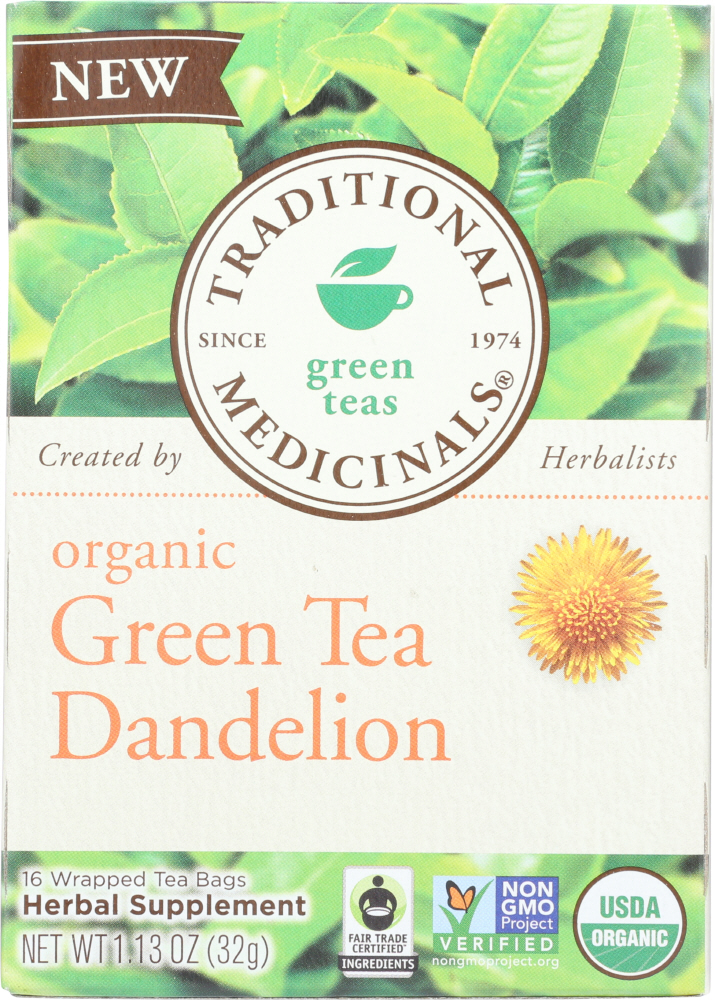 TRADITIONAL MEDICINALS: Organic Green Tea Dandelion 16 Tea Bags, 1.13 oz