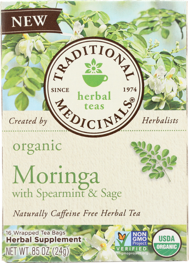 TRADITIONAL MEDICINALS: Tea Moringa With Spearmint Sage, 16 bg