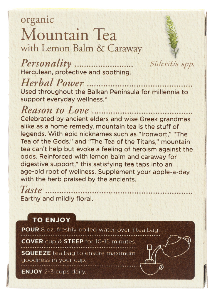TRADITIONAL MEDICINALS: Tea Mountain With Lemon Balm Organic, 16 bg
