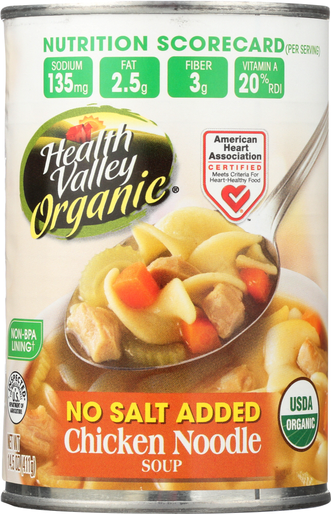 HEALTH VALLEY: No Salt Added Organic Chicken Noodle Soup, 15 oz