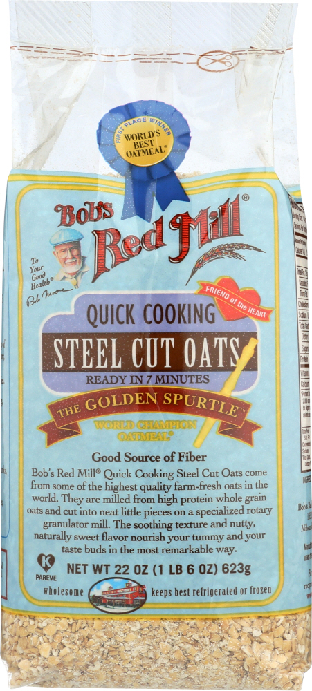 BOBS RED MILL: Oats Steel Cut Quick Cooking, 22 oz