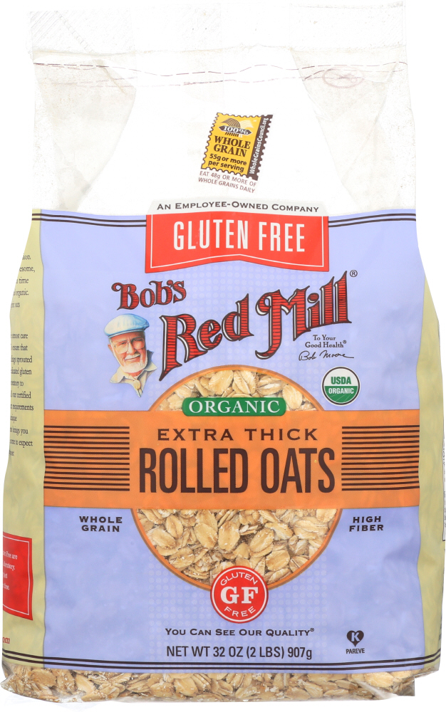 BOBS RED MILL: Gluten Free Organic Extra Thick Rolled Oats, 32 oz