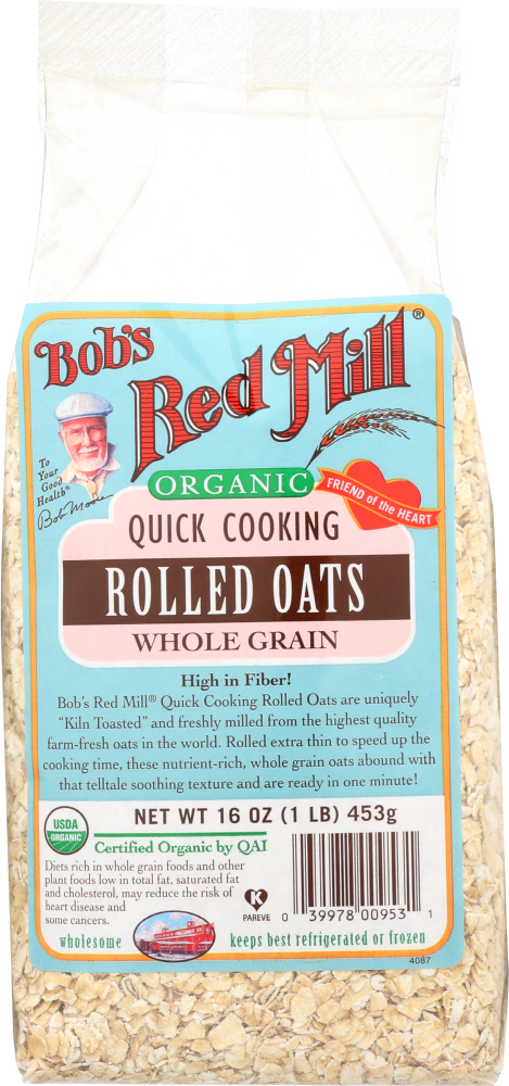 BOBS RED MILL: Organic Quick Cooking Rolled Oats, 16 oz