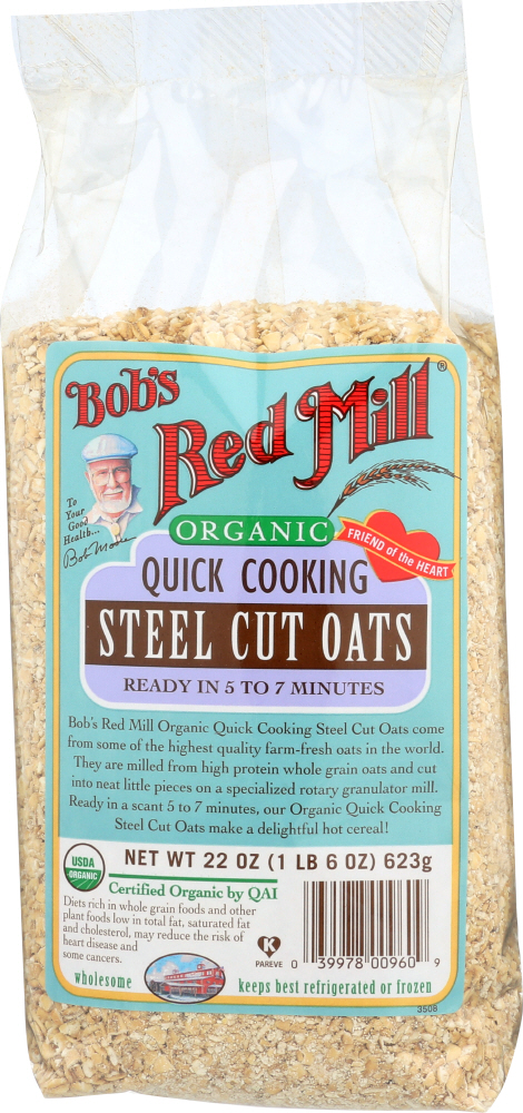 BOBS RED MILL: Organic Quick Cooking Steel Cut Oats, 22 oz