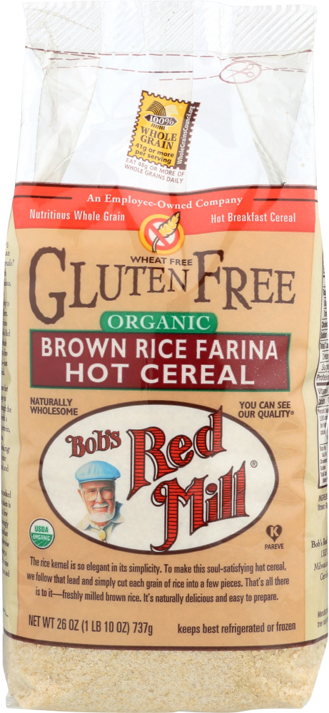 BOBS RED MILL: Organic Brown Rice Farina Cereal, 26 oz