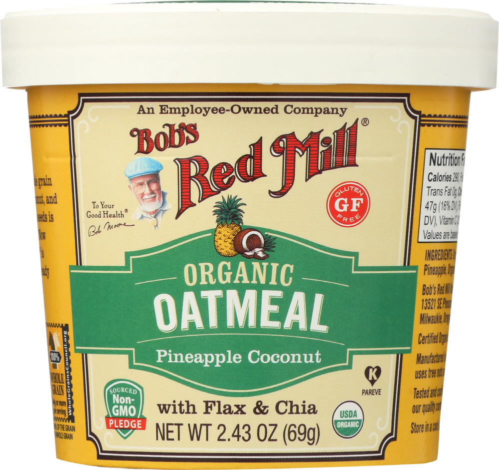 BOBS RED MILL: Organic Oatmeal Cup Pineapple Coconut, 2.43 oz