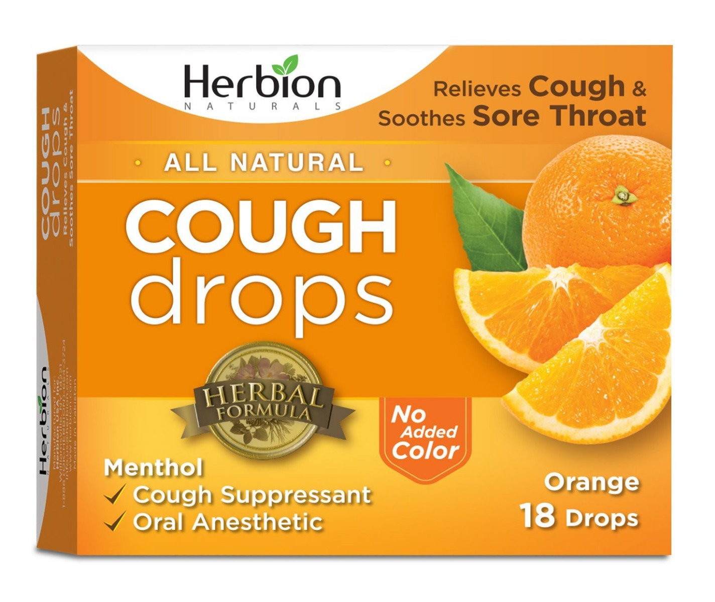 HERBION NATURALS: Cough Drops Orange, 18 pc