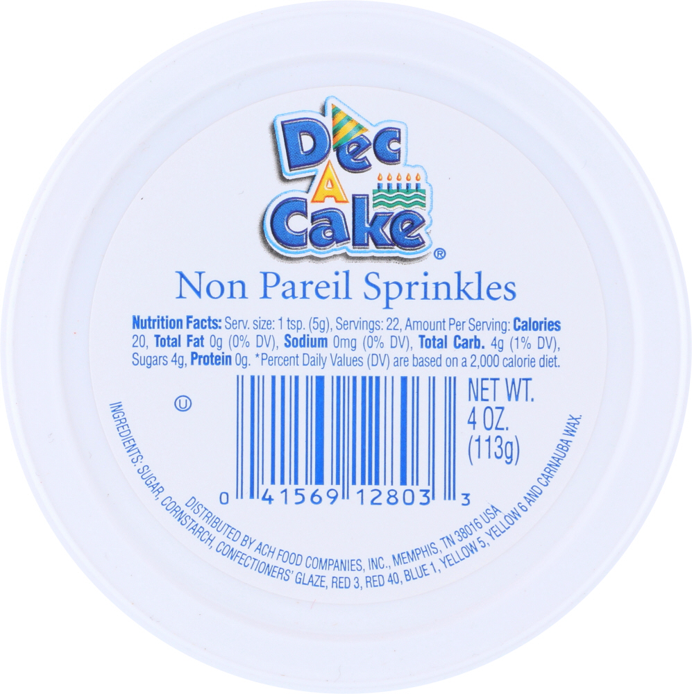 DEC A CAKE: Non Pareil Cup, 4 oz
