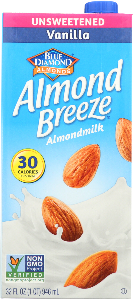 BLUE DIAMOND: Natural Almond Breeze Vanilla Unsweetened, 32 oz