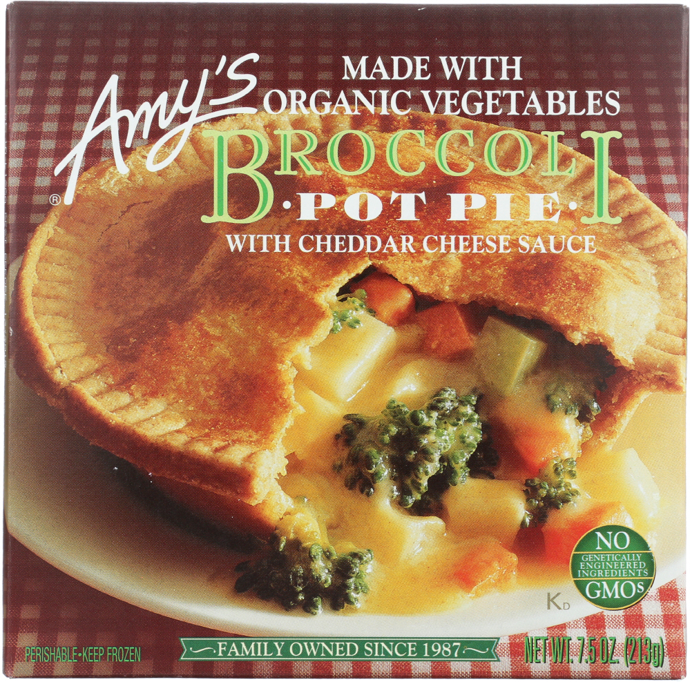 AMY'S: Broccoli with Cheddar Cheese Sauce Pot Pie, 7.5 Oz