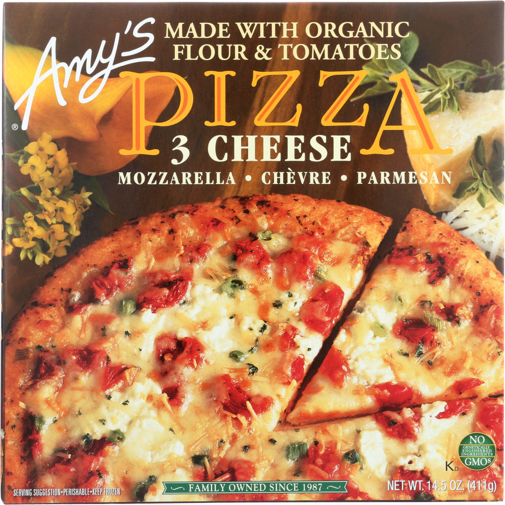 AMY'S: 3 Cheese Pizza with Cornmeal Crust, 14.5 oz