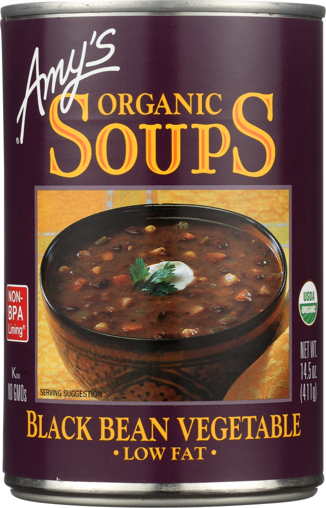 AMY'S: Organic Soup Low Fat Black Bean Vegetable, 14.5 oz
