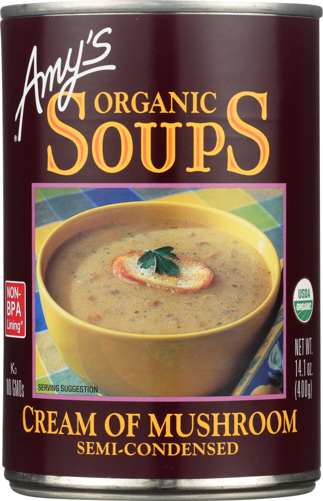 AMY'S: Organic Soup Semi-Condensed Cream of Mushroom, 14.1 oz