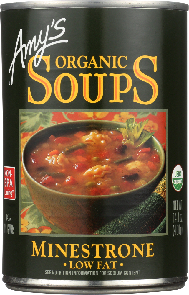 AMY'S: Organic Soup Low Fat Minestrone, 14.1 oz