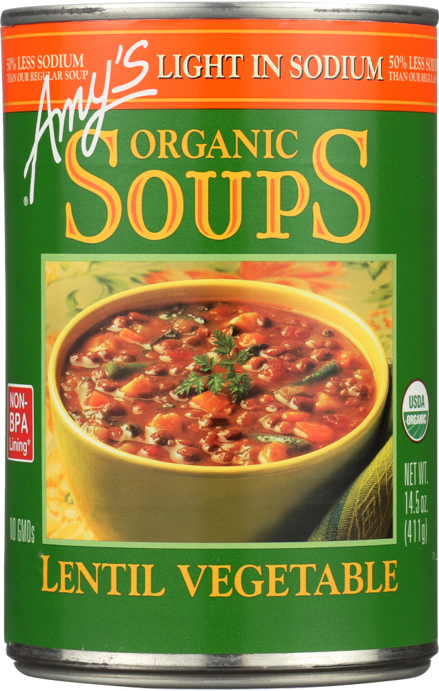 AMY'S: Organic Soup Light in Sodium Lentil Vegetable, 14.5 oz