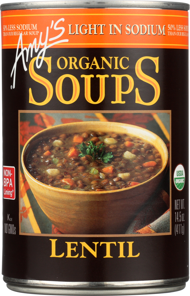 AMY'S: Organic Soup Lentil Light In Sodium, 14.5 oz