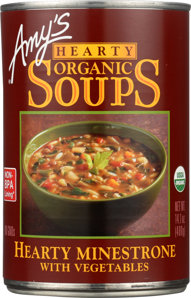 AMY'S: Organic Hearty Soup Minestrone with Vegetables, 14.1 oz