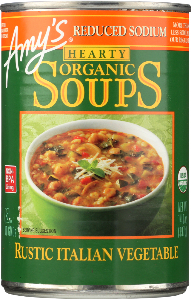 AMYS: Soup Vegetable Italian Reduce Sodium, 14 oz