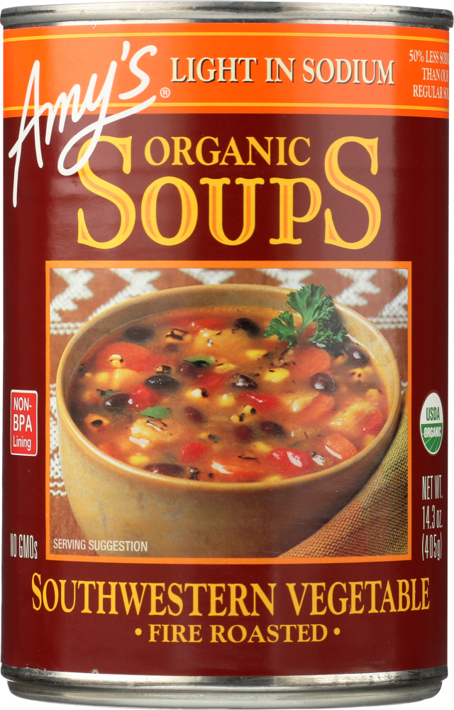 AMYS: Soup Vegetable Roasted Southwestern Light Sodium, 14.3 oz