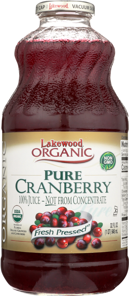 LAKEWOOD ORGANIC: Pure Cranberry Juice, 32 oz