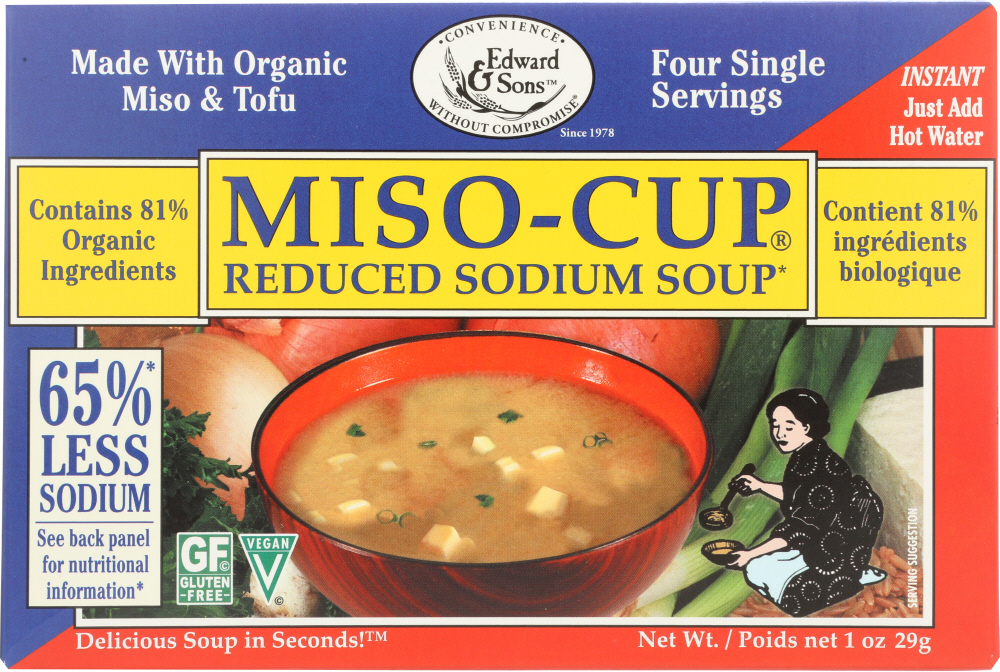 EDWARD & SONS: Miso Cup Mix Reduced Salt Organic 3-4 P, 1 oz