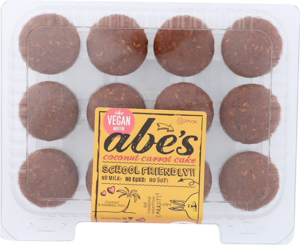 ABE'S MUFFIN: Vegan Cococnut Carrot Cake Muffins 12 Count, 10 oz