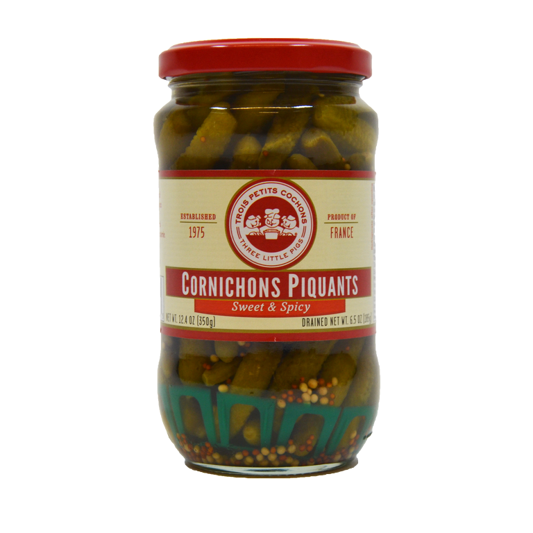 LES TRIOS PETITS: Gherkins Sweet and Spicy Baby, 12.4 oz
