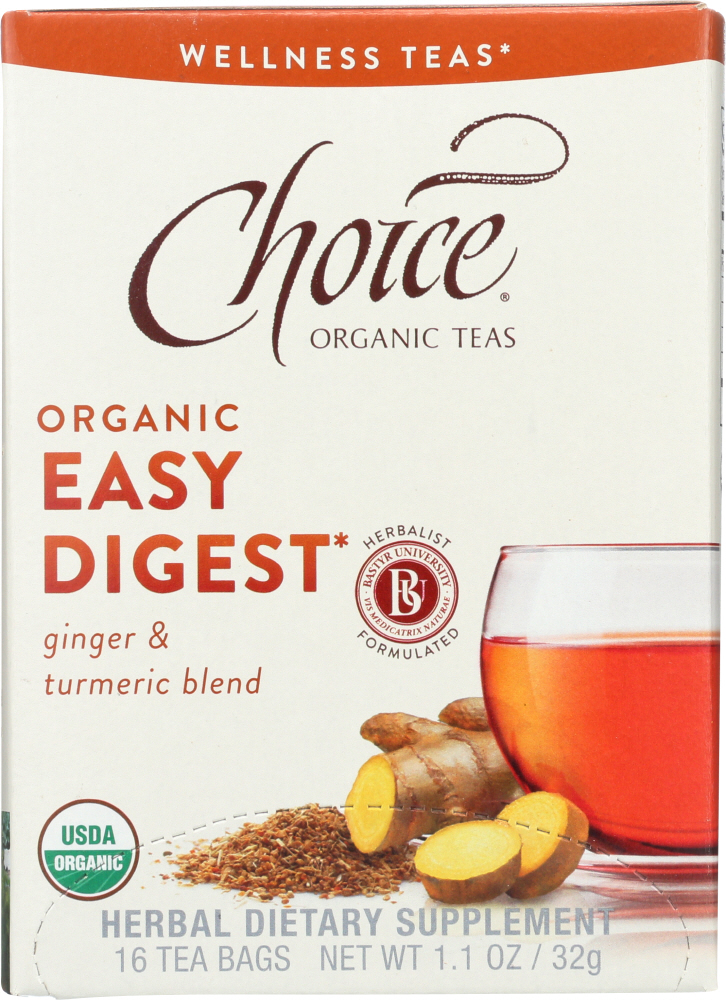 CHOICE TEA: Organic Easy Digest Wellness Tea 16 Tea Bags, 1.1 oz