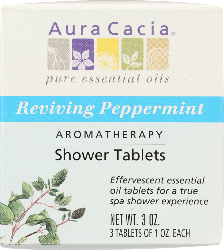 AURA CACIA: Aromatherapy Shower Tablets Reviving Peppermint 3 tablets (1 oz each), 3 oz