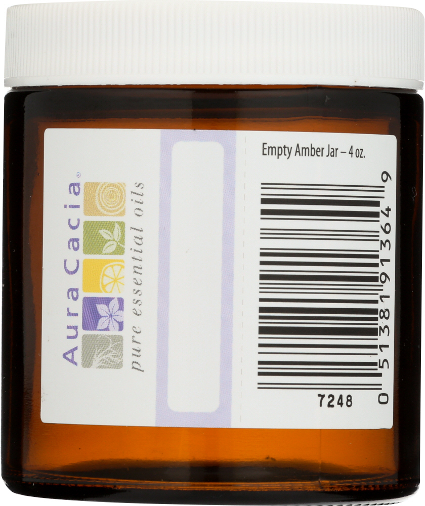AURA CACIA: Amber Wide Mouth Jar with Writable Label, 4 oz