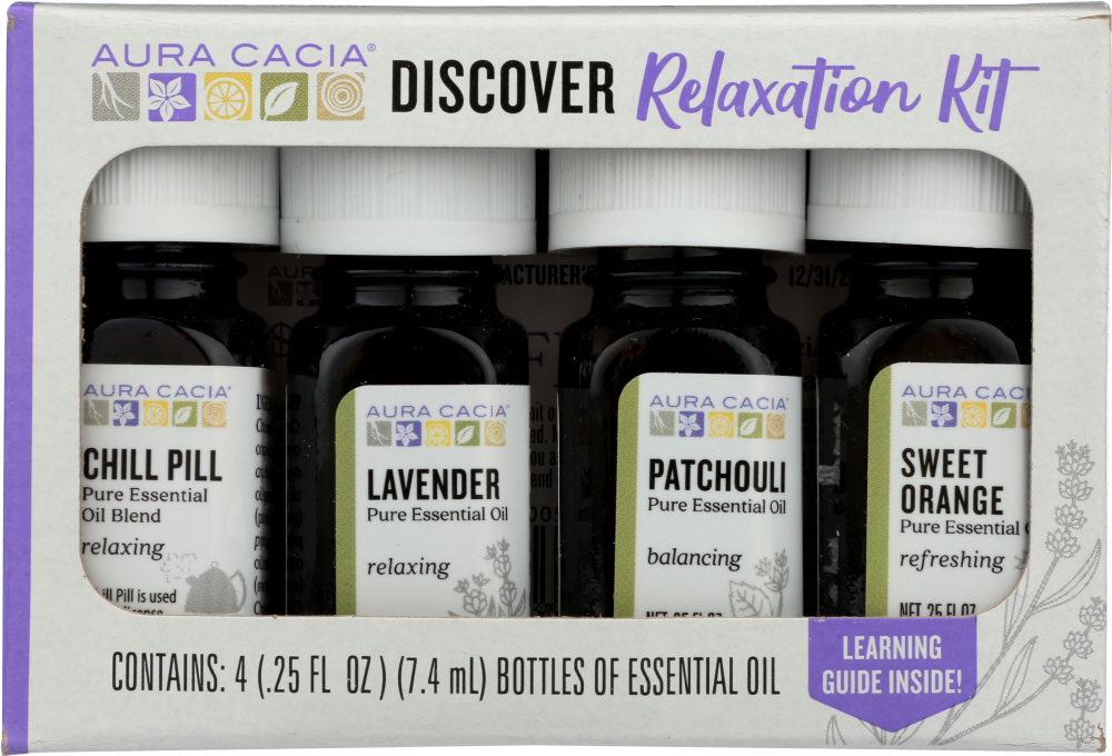 AURA CACIA: Essensial Oil Relaxation Kit Pack of 4, 0.25 oz