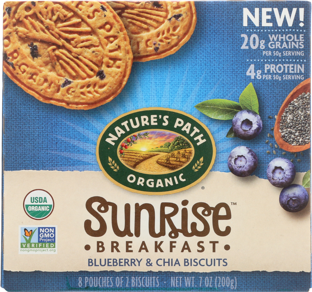NATURES PATH: Sunrise Blueberry & Chia Breakfast Biscuits, 7 oz