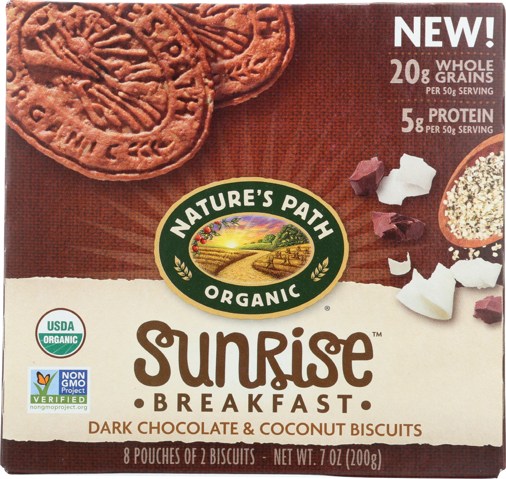 NATURES PATH: Sunrise Breakfast Dark Chocolate Coconut Biscuits, 7 oz