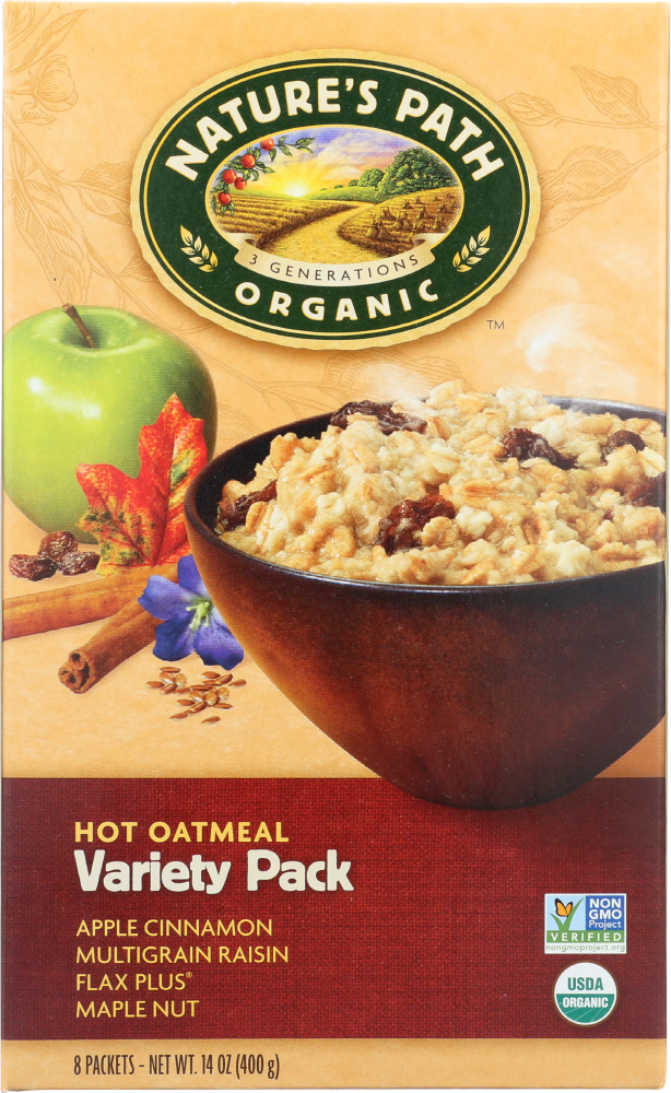NATURE'S PATH: Organic Instant Hot Oatmeal Variety Pack 8 Count, 14 oz