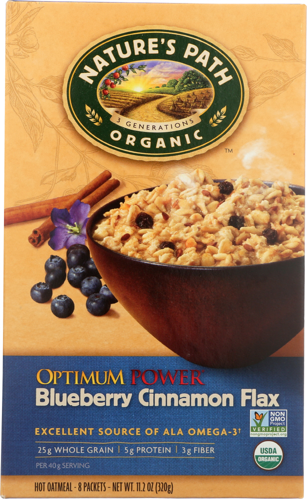 NATURE'S PATH: Organic Optimum Power, Hot Oatmeal, Blueberry Cinnamon Flax, 8 Packets, 11.2 Oz